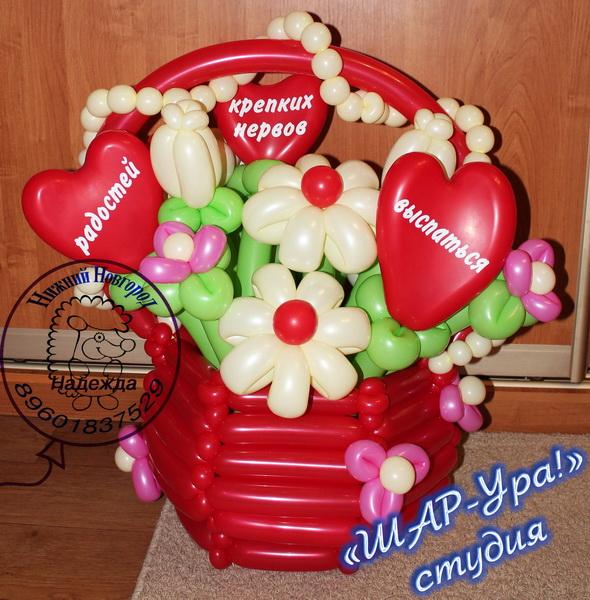 корзина с цветами из шаров