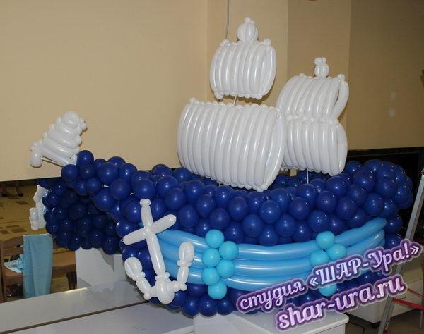 корабль из шаров