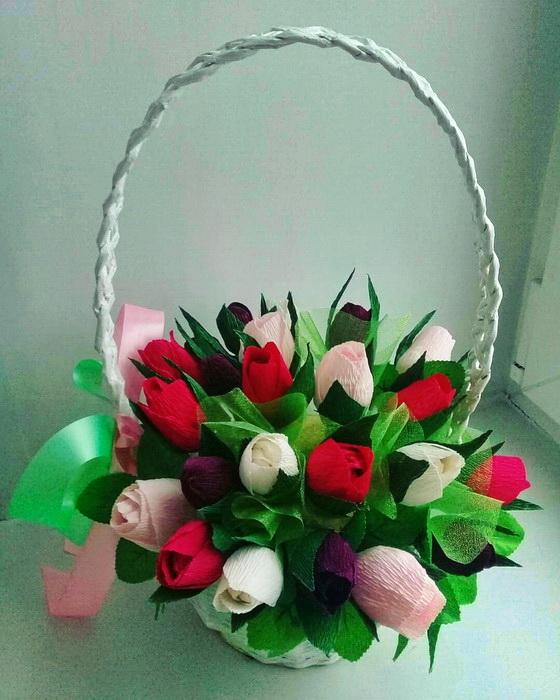 корзина тюльпанов из конфет