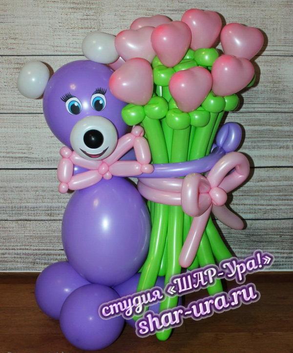 мишка и букет розовые сердечки шары