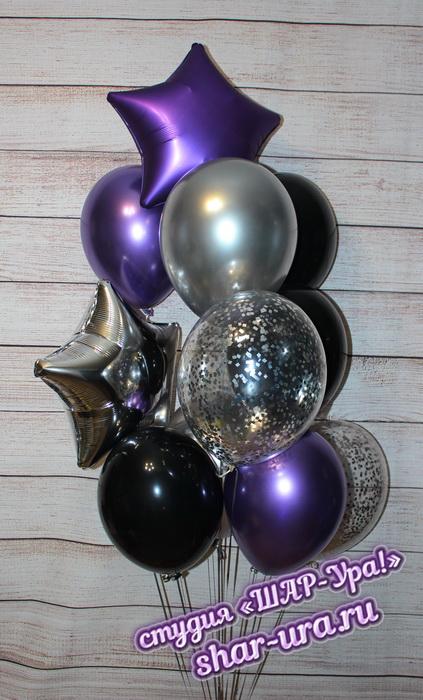 серебро и фиолетовый в шарах